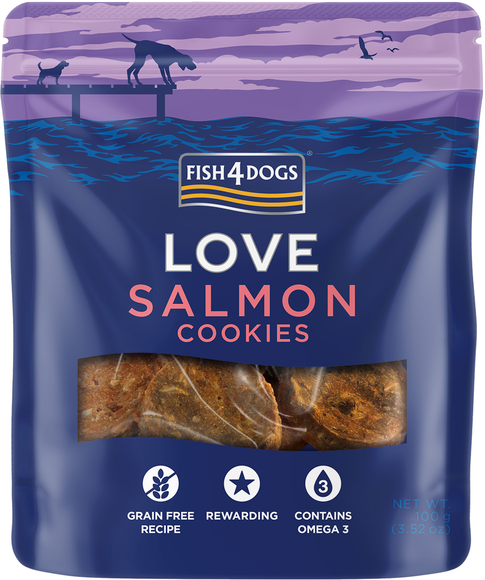 SCK235R F4D_Pack_Renders_Pouch_LOVE-100g_Front_Salmon Cookies